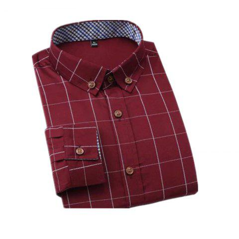 Best New Men's Fashion Plaid Long Sleeve Cotton Shirt