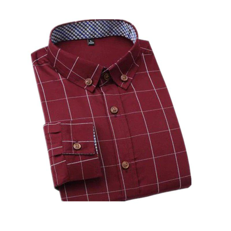Fancy New Men's Fashion Plaid Long Sleeve Cotton Shirt