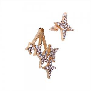 Rhinestone Exaggerated Pentagram Temperament Earrings -
