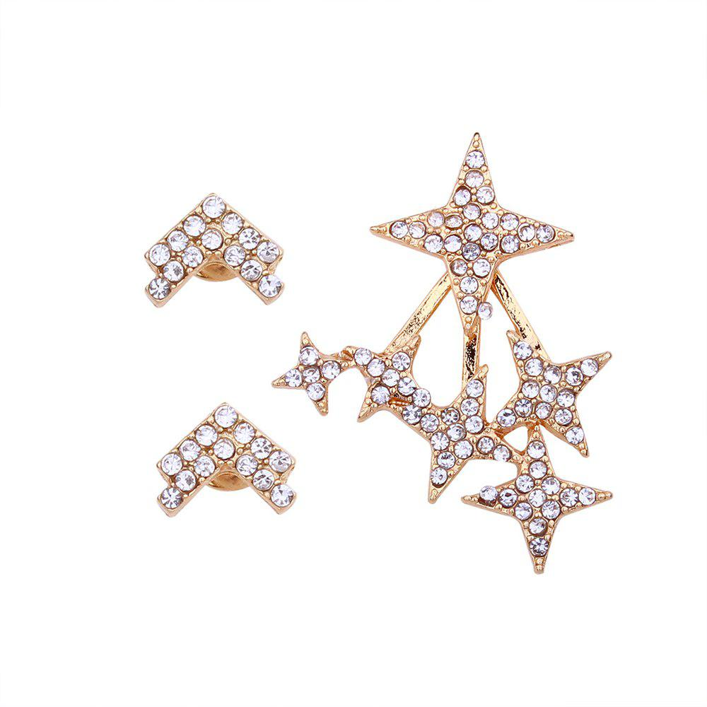 Outfit Rhinestone Exaggerated Pentagram Temperament Earrings