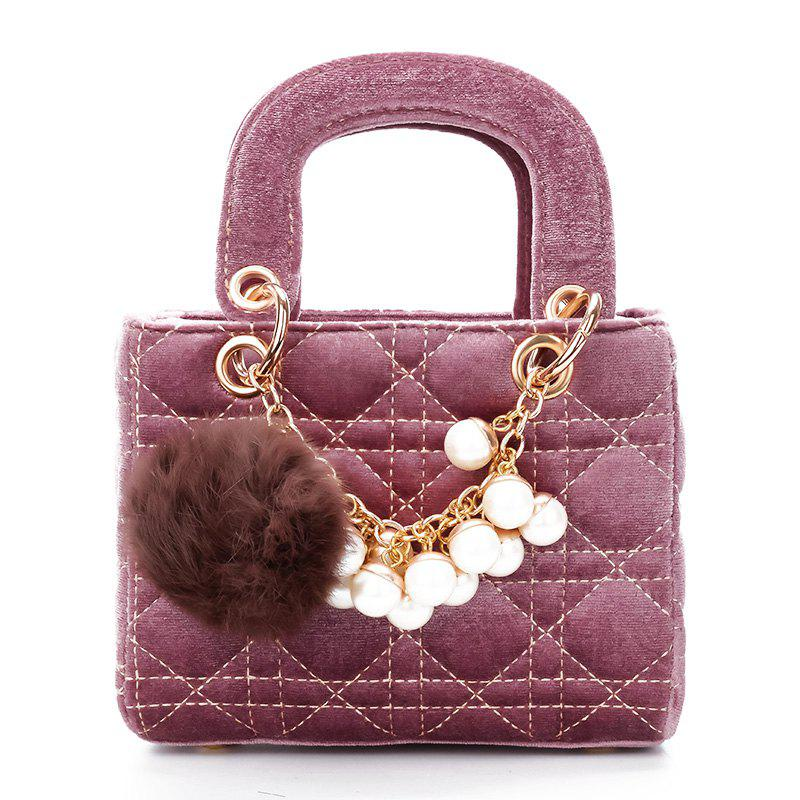 Trendy Pearls Velvet Simple Fashion Shoulder Messenger Bag Handbag