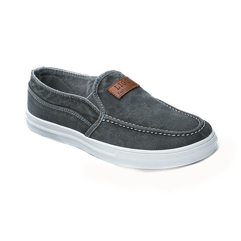 Chic Men Lazy Canvas Deck Shoes Low-sleeve Simple Flat Sneakers