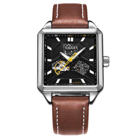 Affordable OUBAOER 2003A Square Automatic Mechanical Hollow Men Watches