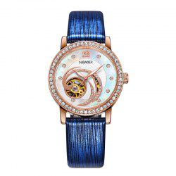 OUBAOER 2005A Automatic Machinery Leather Fashion Women Watch -