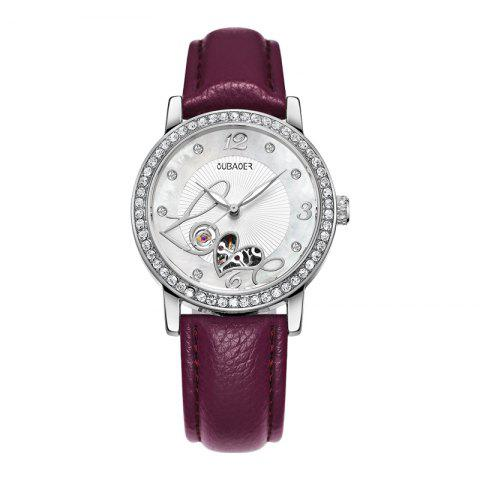 New OUBAOER 2005B Automatic Machinery Leather Fashion Women Watch
