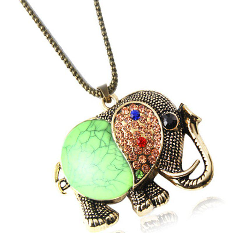 Online Fashion Vintage Jewelry Accessories Long Design Gem Rhinestone Elephant Necklace Pendant for Women