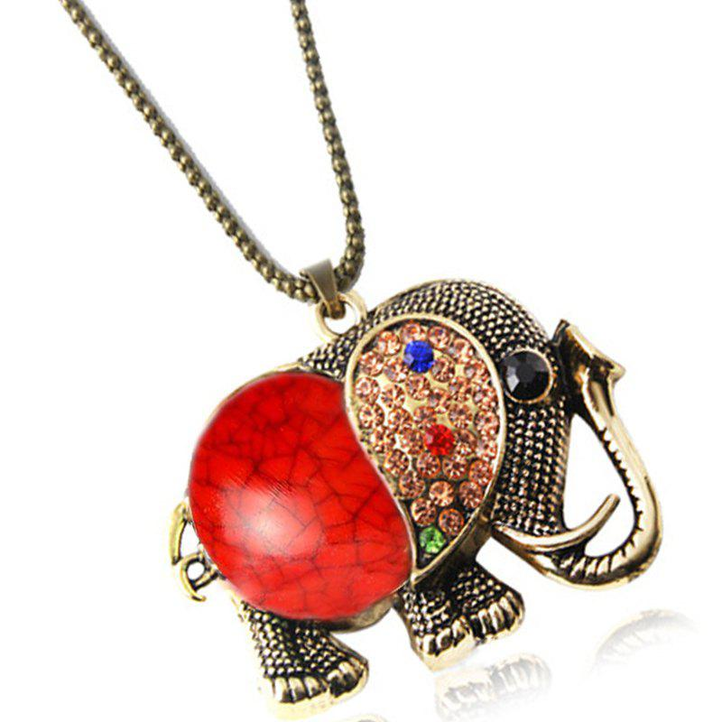 Discount Fashion Vintage Jewelry Accessories Long Design Gem Rhinestone Elephant Necklace Pendant for Women