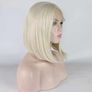 Medium Length Bob Style Blonde Color Heat Resistant Synthetic Hair Lace Front Wigs for Women -