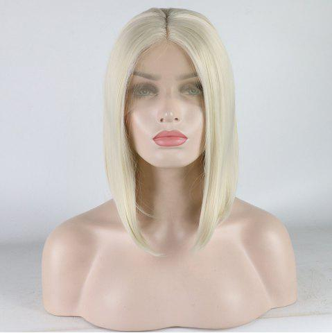 Cheap Medium Length Bob Style Blonde Color Heat Resistant Synthetic Hair Lace Front Wigs for Women