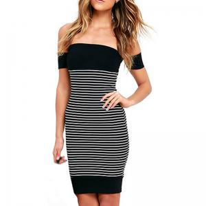 New Leaking Striped Splicing Bandage Dress -
