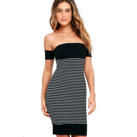 New New Leaking Striped Splicing Bandage Dress