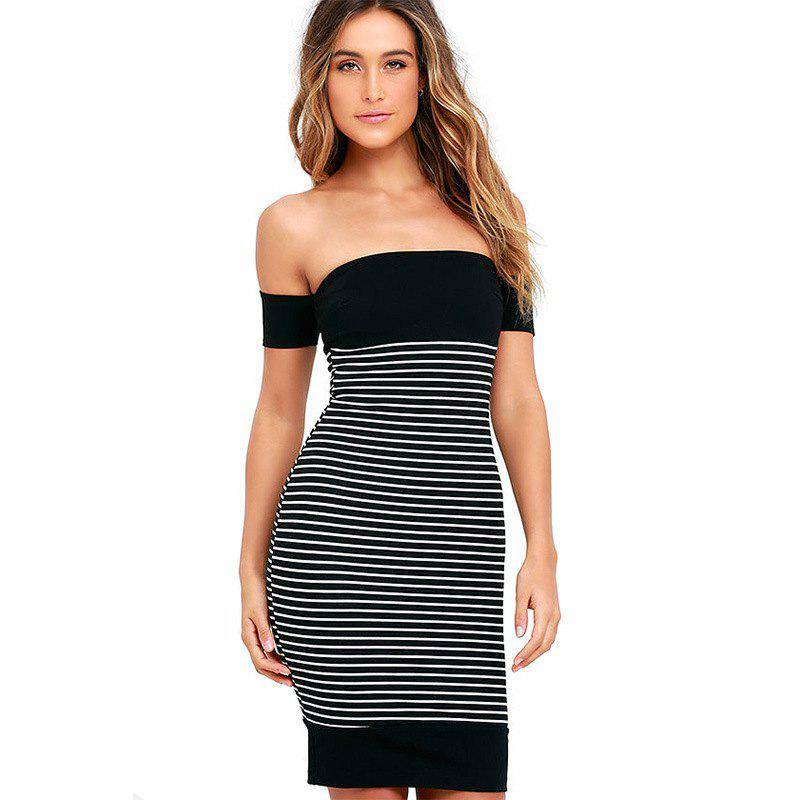 Chic New Leaking Striped Splicing Bandage Dress
