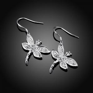 Fashion Graceful Silver Plated Dragonfly Drop Earrings Charm Jewelry -