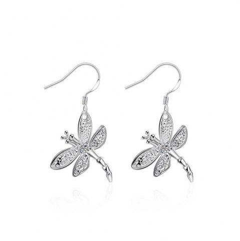 Discount Fashion Graceful Silver Plated Dragonfly Drop Earrings Charm Jewelry