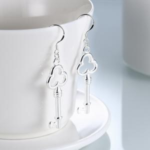 Graceful Key Shape Silver Plated Drop Earrings Gift For Women -