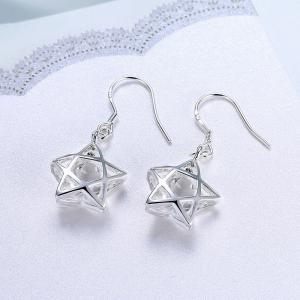 Silver Plated Zircon Star Earrings Charm Jewelry Gift For Women -