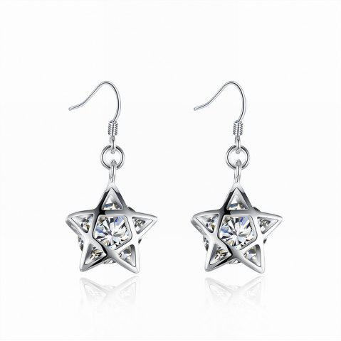 Cheap Silver Plated Zircon Star Earrings Charm Jewelry Gift For Women