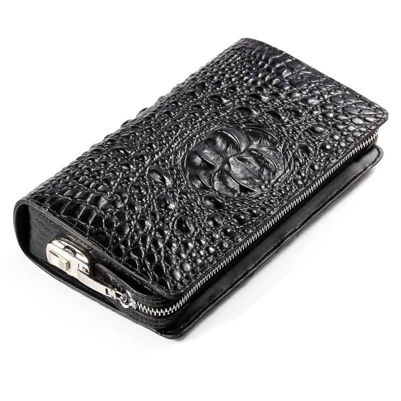 Trendy Genuine Leather Clutch Bag For Men Zipper Design Male  Brand Design Men's Phone Holder  RFID Blocking