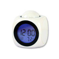 LED Display Digital Alarm Clock Dimming Projection Clock Snooze Sleep Timer Temperature Display -