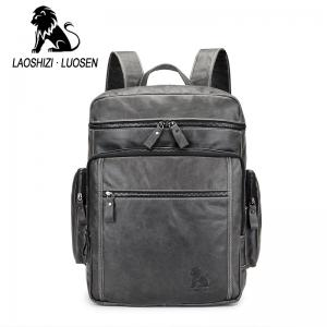 LaoShiZi 2018 Men's High Quality Durable Cowhide Genuine Leather  Backpack Laptop Bag -