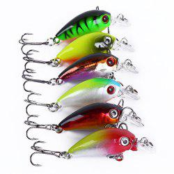 6pcs Fishing Road Sub Little Fat Bionic Bait Hook 4.5cm 4.2g -