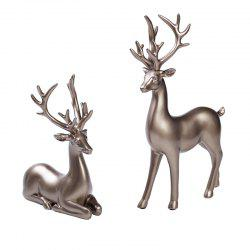Novel Creative Resin Home Decorative Couples Against Deer -