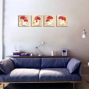QiaoJiaHuaYuan No Frame Canvas Living Room Sofa Background Four Union Picture Европейские контрактные украшения для вазы -