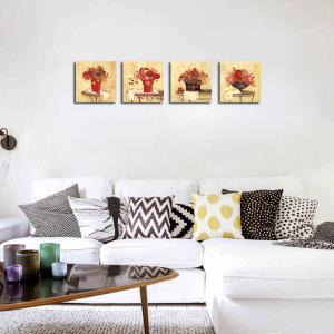 QiaoJiaHuaYuan Frameless Canvas Sitting Room Sofa Potted Flower Adornment 4PCS -
