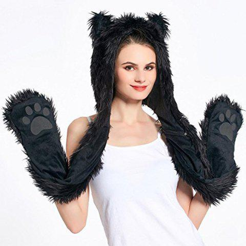 Fancy White Anime Spirit Paws Ears Mittens Gloves Scarf Zipper