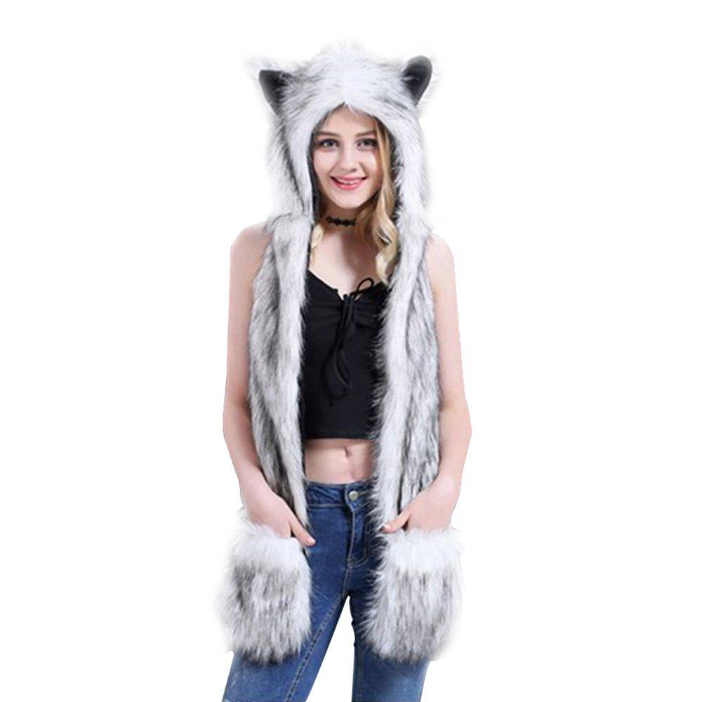 Affordable White Anime Spirit Paws Ears Mittens Gloves Scarf Zipper