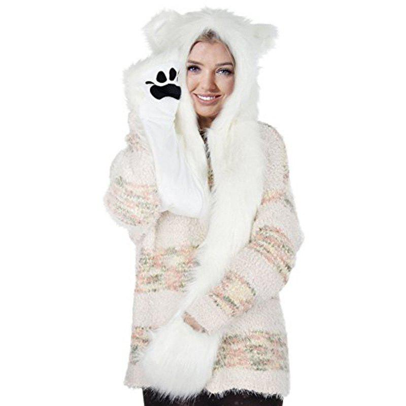 Fashion White Anime Spirit Paws Ears Mittens Gloves Scarf Zipper