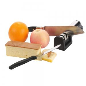 Updated Version of Knife Sharpener for Straight Serrated Knives and Scissors-2 Stage Diamond Sharpening System-Multifunctional -