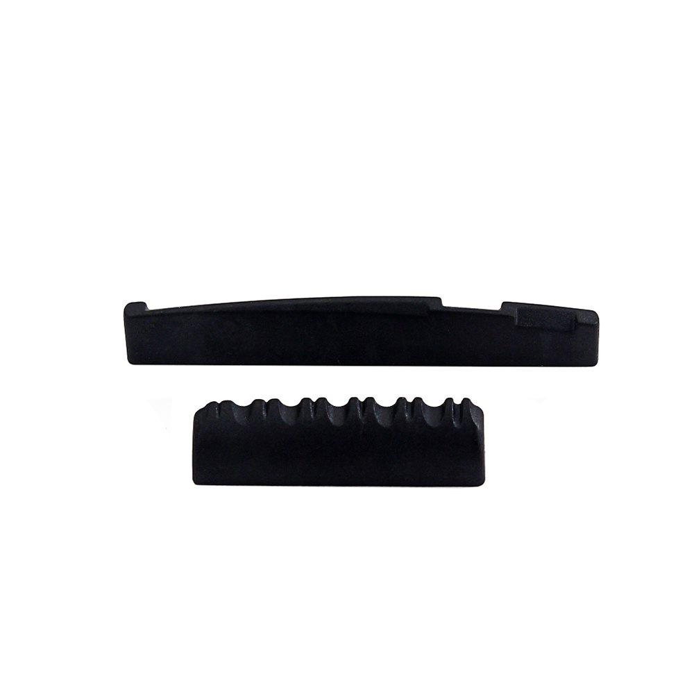 Chic Black Acoustic Guitar Nut and Saddle