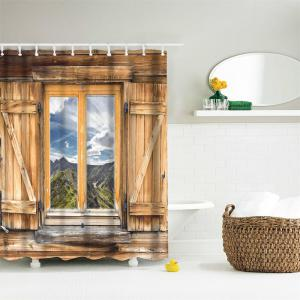 Mountain View Window Polyester Shower Curtain Bathroom  High Definition 3D Printing Water-Proof -