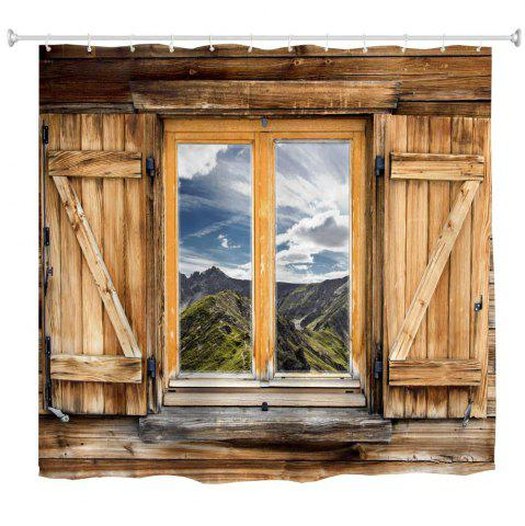 Fashion Mountain View Window Polyester Shower Curtain Bathroom  High Definition 3D Printing Water-Proof
