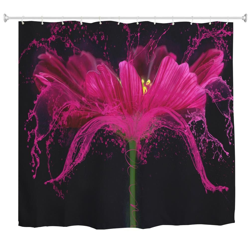 Online Flower Splash Polyester Shower Curtain Bathroom  High Definition 3D Printing Water-Proof