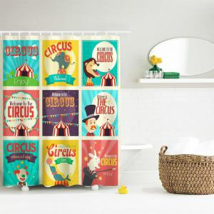 Circus Collection Polyester Shower Curtain Bathroom  High Definition 3D Printing Water-Proof -