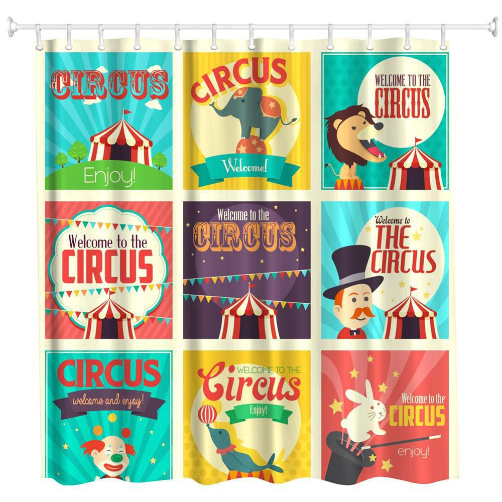 Discount Circus Collection Polyester Shower Curtain Bathroom  High Definition 3D Printing Water-Proof