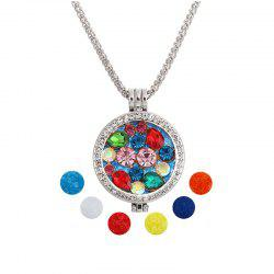 Jewelry Gift Lotus Beads Hand Crystal Inset Double Photo Shim Fragrance Box Pandent Necklace -