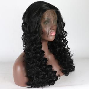 Black Long Curly Style Heat Resistant Synthetic Hair Lace Front Wigs for Women -
