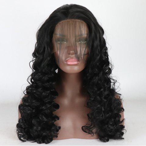 Hot Black Long Curly Style Heat Resistant Synthetic Hair Lace Front Wigs for Women
