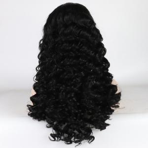Black Color Long Curly Heat Resistant Synthetic Lace Front Wigs for Women with Baby Hair -