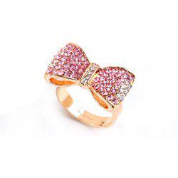 Popular Color Gold Pink Diamond Bow Opening Adjustable Ring -