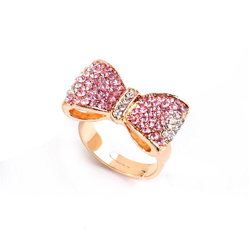 Best Popular Color Gold Pink Diamond Bow Opening Adjustable Ring