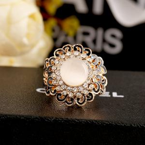 Opal Can Adjust The Ring with Black Flower Opening -
