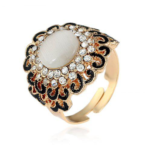 Fashion Opal Can Adjust The Ring with Black Flower Opening
