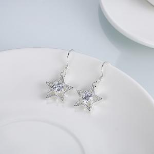Zircon Star Shape Silver Plated Drop Earrings Charm Jewelry Gift для женщин -