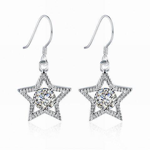 Zircon Star Shape Silver Plated Drop Earrings Charm Jewelry Gift для женщин