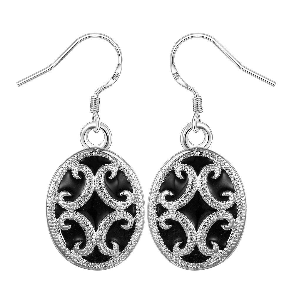 Outfit Fashion Oval Pattern Drop Earrings Charm Jewelry