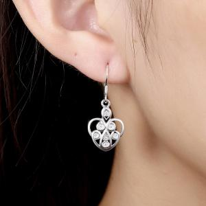 Hollow Out Zircon Heart Shape Drop Earrings Charm Jewelry -